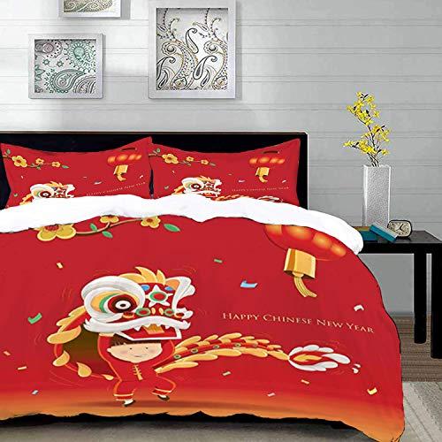 Bettbezug-Set, Chinese New Year Theme Bild, Little Boy Performing Lion Dance mit dem Kostüm Flowering Branch Laterne, King Size Dekorative 3-teiliges Bettwäscheset mit 2 Kopfkissen, Multicolor, Super