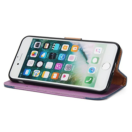 iPhone 7 Hülle, iPhone 8 Hülle, BONROY Retro Kontrast Farbe Malerei Rosen Muster PU Leder Etui Flip Case Brieftasche Schutzhülle Handyhülle TPU Innen Karteneinschub und Magnetverschluß Protective Lede Lila