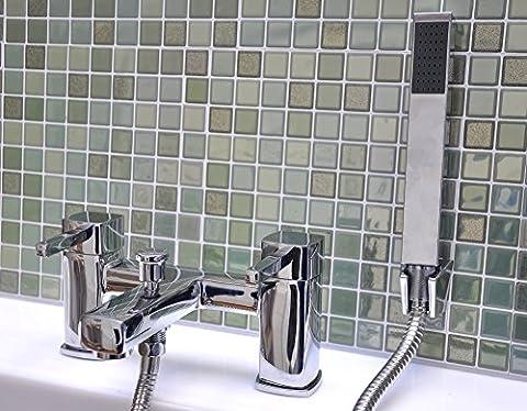 Dual Bathtub Mixer Filler Shower & Tap Chrome Plated Basin Bathroom Luxury Hand Held Shower Head Mono Bloc Faucet Double Bath Set LIFETIME WARRANTY - Harvey