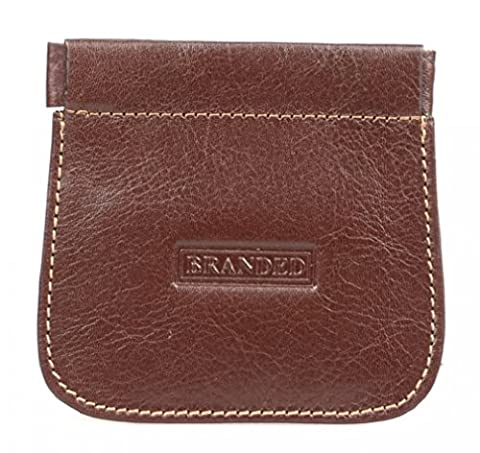 Branded Men's Cow Leather Snap Top Coin Purse - Brown