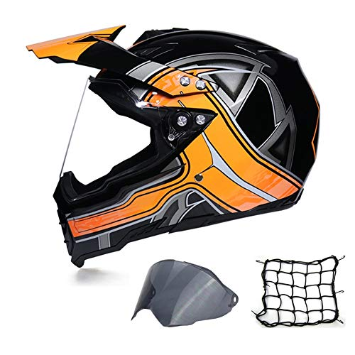 MRDEAR Casco Motocross, Casco Cross Adulto con Visiera (Protezione UV) e Rete Elastica Moto, Casco MTB Integrale Downhill off-Road Race ATV Scooter, Ventilazione Regolabile, Nero e Arancio,M