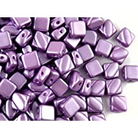 30pcs Silky Beads - Czech perle di vetro schiacciate, piazza 6x6mm con due fori in diagonale, Pastel Dark Lilac