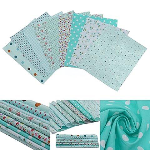 9pcs Tissu de Coton Patchwork Batiks Mixed Crafts de Couture 20 x 25cm (Aléatoire)