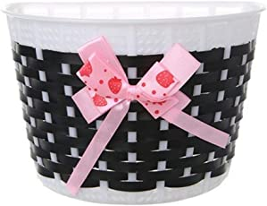 VORCOOL Kids Bike Basket Outdoor Knitted Bowknot Front Basket for Children Girl Bicycle - Size S(Black)