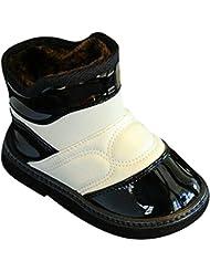 hibote niños Buckle Botas de nieve caliente grueso PU impermeable invierno botas de piel blanca + Negro 21