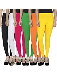771a48c33fb731 Pixie Women's Cotton Lycra Soft 4 Way Stretchable Ankle Length Leggings  Combo (Multicolour, Free