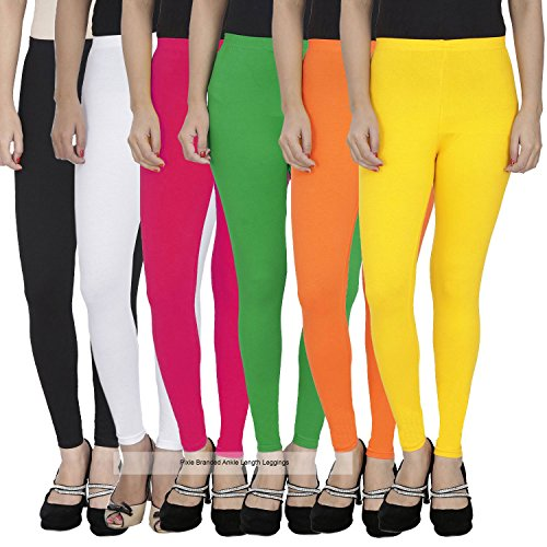 Pixie Women\'s Combo of Soft and 4 Way Stretchable Ankle Length Leggings (Free Size, Multicoloured,PANK160GSMCOMBO6-6) - Pack of 6