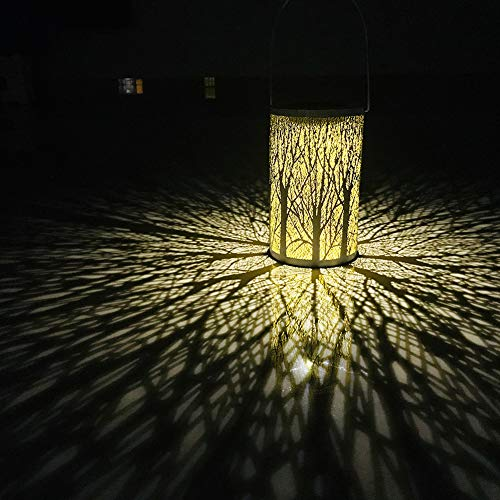 Broadroot Hängendes Laternen Licht IP44 des Metallrattan-Solar-LED imprägniern Garten-Yard-Dekorations-Lampe im Freien (03) -