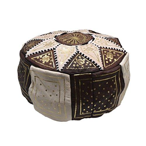 Cuir marocain Authentique Faite à la Main Pouf Repose-Pieds Beige et Marron