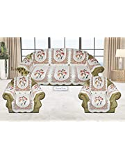 Luxury Crafts™ 5 Seater Sofa and Chair Cover with 6 Pcs arms(Net Sofa Cover Set -12 Pieces) (Off White)