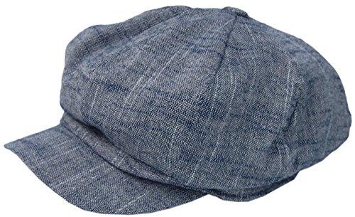 Cool4 Cool4 XXL Leinen Ballonmütze Blau meliert Bakerboy Mütze Chemo Cap Visor Newsboy Vintage SBB01 ((57-58))