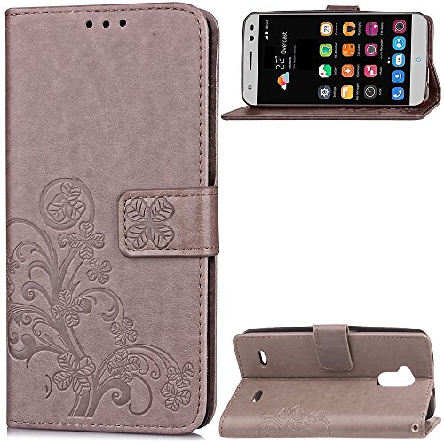 Double Magnetic Back Sucktion Retro Style PU Leder Flip Stand Case mit Kickstand und Wallet Beutel Funktion für ZTE Blade V7 Lite ( Color : Brown ) Gray