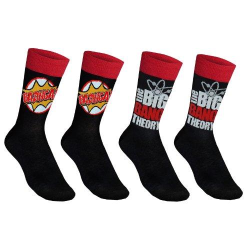 The Big Bang Theory - 2 pares de calcetines de vestir oficiales - Para hombre - Con la palabra «Bazinga!» - Negro