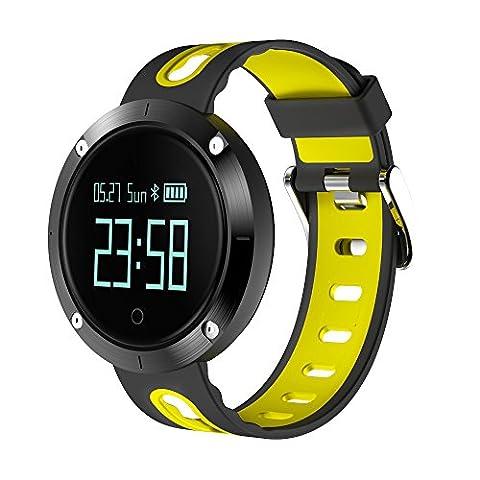lpan Smart Armband Hit Farbe Rund Blutdruck Bluetooth Motion Schritt Smart Armband tragen, schwarz / gelb