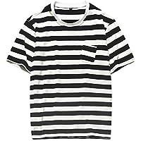 RONDAA Camisas de Moda para Hombre Casual de algodón a Rayas de Manga Corta Camiseta de Gran tamaño