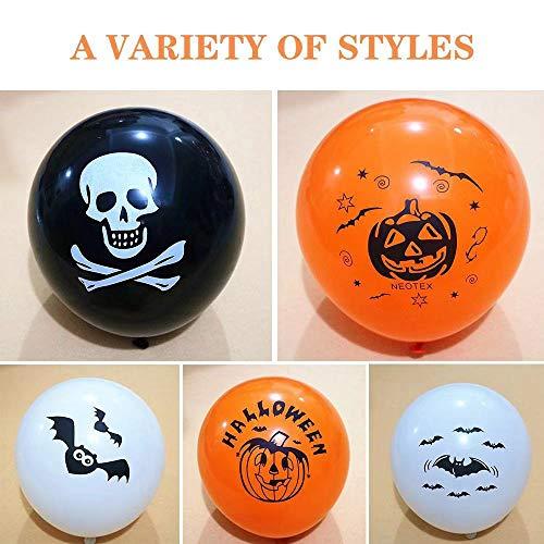 Caiery 50 pcs Halloween Dekoration Ballons Luftballons & 1pcs Halloween Girlande/Halloween Deko Set für geeignet-Grusel-Horror-Party-Deko - 4