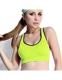 ny Ropa de yoga chaleco sin rastro ropa interior deportiva corriendo a prueba de golpes ropa de fitness sin anillo de acero se reúnen sujetador ( Color : Verde , Tamaño : M )