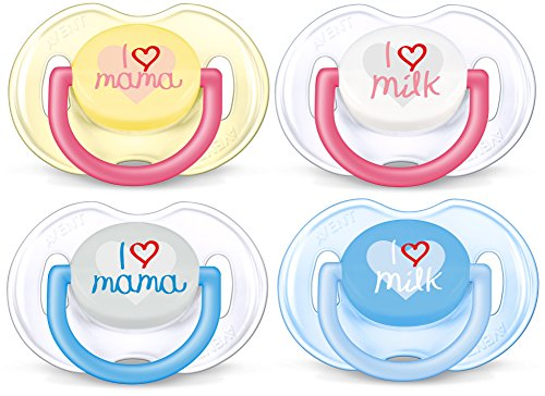 Philips Avent SCF172/50 Succhietti Love - con Tettarelle ortodontiche, senza BPA (0-6m) - 2 pezzi, modelli e colori assortiti