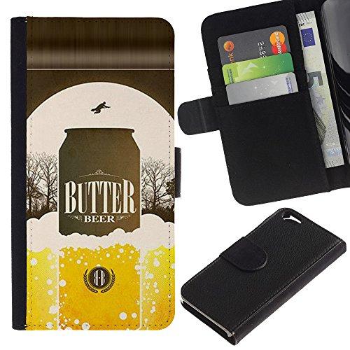 UPPERHAND (Non Per IPHONE 6 PLUS) Stile Immagine Portafoglio Carte PELLE FLIP TPU CUSTODIA CASE PROTEZIONE COVER IN GUSCIO Per Apple Iphone 6 4.7 - birra lattina bottiglia dorata annuncio manifesto