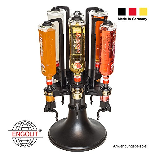 ENGOLIT Profi Bar Butler (2cl Finger-Push) 6-fach Flaschenhalter - 360° drehbar   rund, Ultra-Halt & standfest auf Tisch stehend - Made in Germany - hochwertig   inkl. Spirituosen-Dosierer
