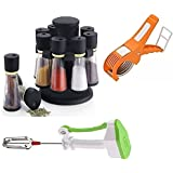 DHYAN Combo Spice Rack - 8 Jar, Vegetabel Cutter & Manual Hand Blender