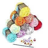 LIHAO 10x50g Pelotes de Laines Multicolores en Acrylique pour Tricot, Les Loisirs Créatifs...
