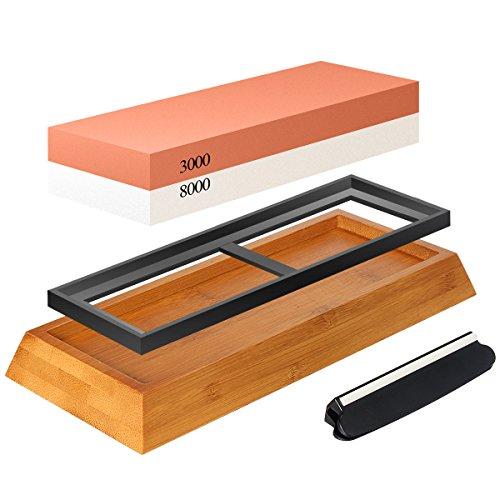 Abziehstein Schleifstein Set, Zacfton Wetzstein mit 3000/8000 Körnung für Messer, mit Messer schärfen und Gummi-Steinhalter sowie Bambus Basis und Messer-Halter