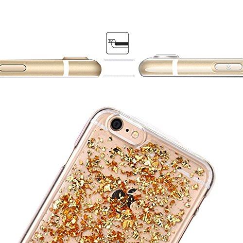 Coque pour iPhone 5 5S SE TPU Silicone Etui Housse,MingKun iPhone 5 5S SE Souple Transparent Case Cover Coque de Protection avec Absorption de Choc Bumper et Anti-Scratch Hull Bling Glitter Couleur Co A-Or