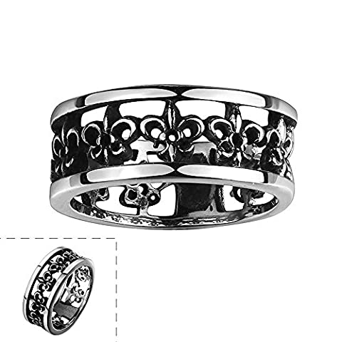 Thumby Pattern Engraved Carved Round Titanium Steel Ring for Unisex,11