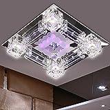 Aiwen Plafonnier Intérieur Carré Lampe de Plafond de Salon de Luxe Salle à Manger Lampe en Verre - Blanc chaud