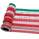 K-LIMIT 10er Set Washi Tape Dekoband Masking Tape Klebeband Scrapbooking DIY Weihnachten Christmas Rot Gold Glitzer 9141