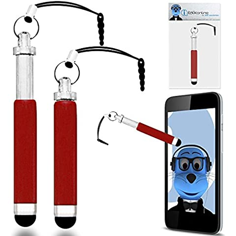 iTALKonline ROSSO Premium RETRATTILE MINI Captive touch pen stilo con punta in gomma e 3,5 mm per cuffia Dangley Adattatore per HTC HD7 - Hd7 Cuffie