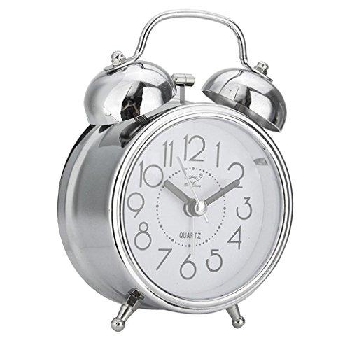 Homyl 4 '' Reloj Despertador Analógico con Luz de Fondo, Cabecera Clásica Vintage Sin Tictac Portátil...