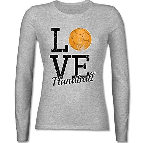 Handball - Love Handball - tailliertes Longsleeve / langärmeliges T-Shirt für Damen Grau Meliert