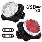 Solocil Fahrradlicht LED Set, USB Wiederaufladbare LED Fahrradlichter Set LED Frontlicht und Rücklicht Für Radfahren,4 Licht-Modi,Frontlicht und Rücklicht Fahrradlampe Set