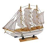 Maquette de Voilier en Bois Bateau à Voile Décoration Méditerranéen Artisanal Craft - # 4, 30cm...