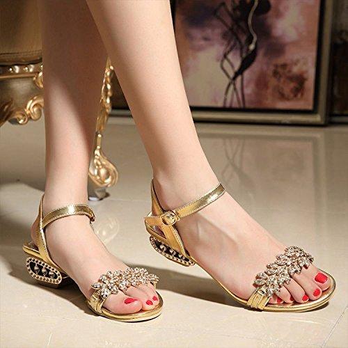 XY&GKStrass'S Sandalen Frauen Ferse Ferse und Zehen Crystal Heel Heel Sandalen, komfortabel und schön 37 gold