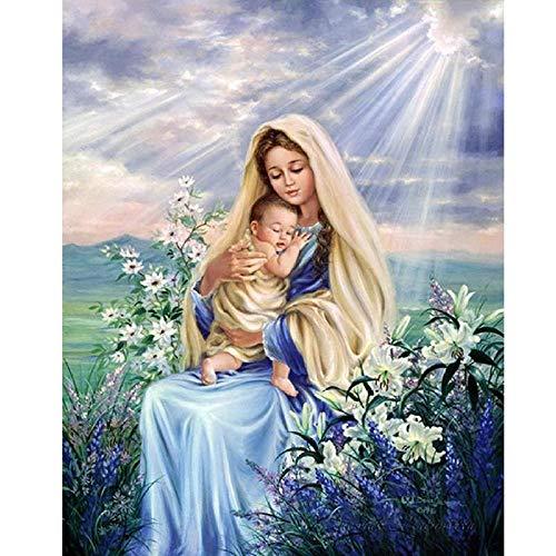 Diamante Pintura Virgen María Niños Religión Cristiana Jesucristo Diy 5D Bordado De Diamantes Madre Amor Niño Regalos Religiosos-70x90cm