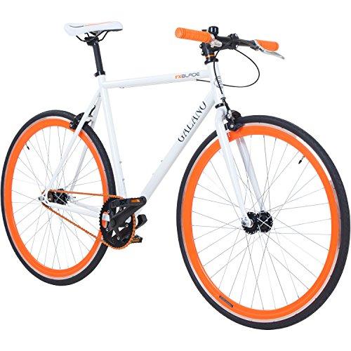 Galano 700C 28 Zoll Fixie Singlespeed Bike Blade 5 Farben zur Auswahl, Rahmengrösse:59 cm, Farbe:Weiss/orange