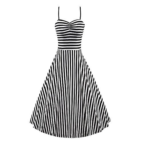 BOMOVO Damen 50s Vintage Rockabilly Kleid Neckholder Kleid Festliches Kleid  Ärmellos Bustier Plissee Kleider 3XL Schwarz