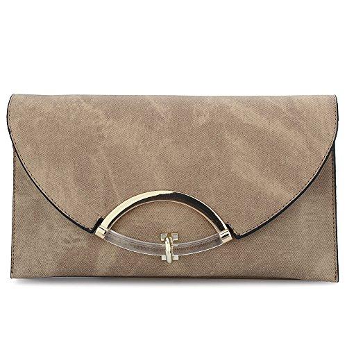 HT Envelope Bags, Poschette giorno donna coffee color