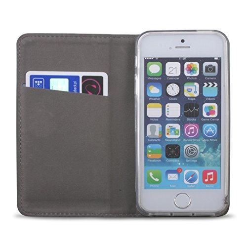 """BOOK CASE SMART MAGNET für Apple iPhone 7 4,7"""" Cover Handy Tasche Flipcase Etui Buchform Kunststoff TPU Halterung für Kreditkarten (rot) dunkel blau"""