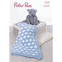 Peter PAN Baby Blanket & Teddy Bear Toy Precious Knitting Pattern 1303 Chunky