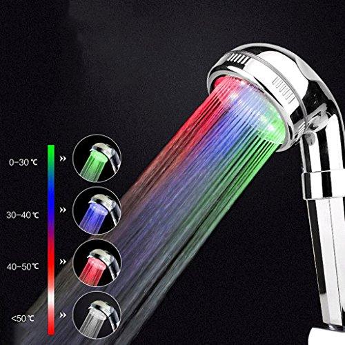 LED-Farblichter Temp-Control-Handbrause mit Schlauch, Druck erhöhen Wasser sparen Universal für Badezimmer Showerhead-Chrome überzogen (Color : A) -