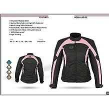 Chaqueta de motociclista Motardzone para mujer, con tejido de corderoy impermeable, color rosa