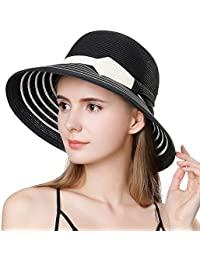 2c31fd0eb92 Ladies Summer Sun Hat Women Floppy Panama Straw Beach Hats Foldable Wide  Brim Fedora - UPF