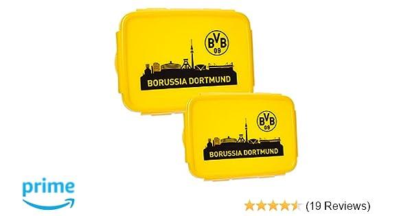 one size, gelb BVB Borussia Dortmund Brotb/üchse Brotdose 2er Pack