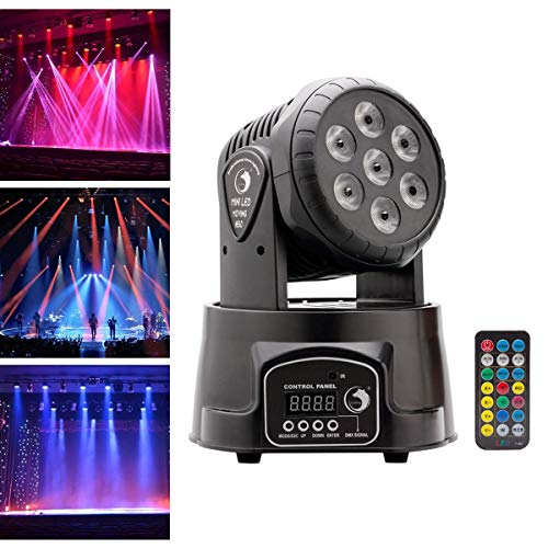 U'King Moving Head Bühnenlicht, Partylicht 7x10 Watt RGBW LED mit Auto/Fernbedienung / DMX512 Steuermodi für DJ Disco Bar Ballsaal Halloween Weihnachten (mit fernbedienung)