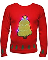 New Womens Novelty Christmas Jumper Ladies Xmas Tree Led Light Up Knittwear Holiday Party Festive Sweater with Lights Size UK