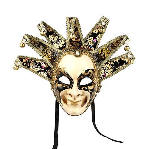 MONWSE Handgemalte Venezianischen Stil Qualität Maskerade Jester Clown Party Full Face Maske Karneval Kostüm Fächerförmigen Maske Karneval Gras (Full Face Maske Kostüm)
